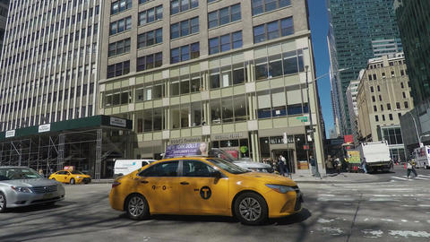 New York, USA Yellow NYC taxi in the streets of New York City Footage