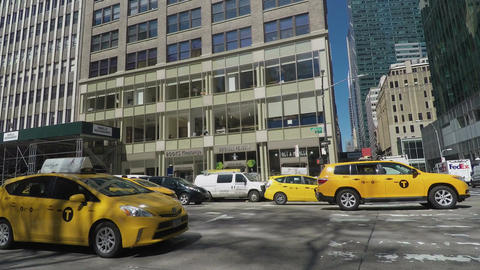 New York, USA Yellow NYC taxis in the streets of New York City Footage