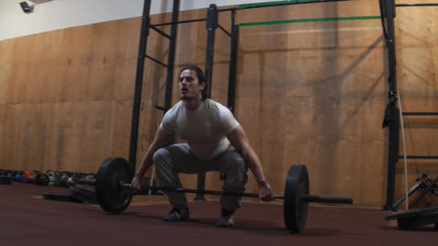 Slow Motion Male Athlete Olympic Barbell Weightlifting Footage