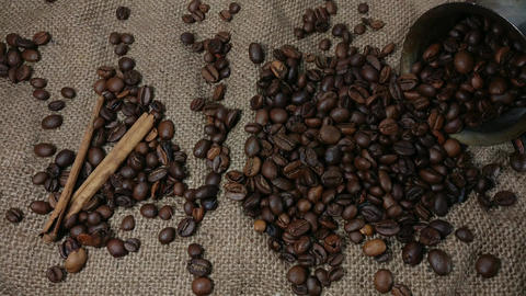Falling roasted coffee beans Footage