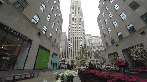 New York, USA The Rockefeller Center Channel Gardens day view Live Action