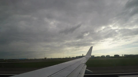 Amsterdam, Netherlands Airplane take off from Schiphol airport Live Action