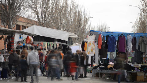 Market On A Windy Day Footage