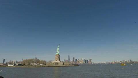 New York, USA Statue of Liberty with Manhattan background view Footage