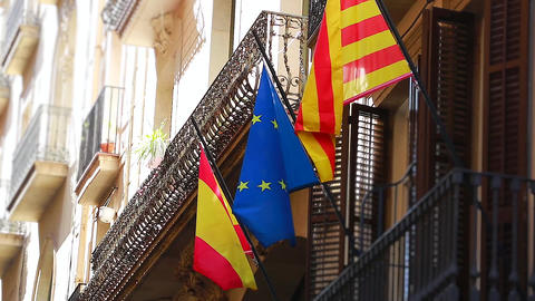 Flags Of European Union And Catalonia Footage