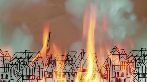 Fire of buildings drawn on a piece of paper Animation