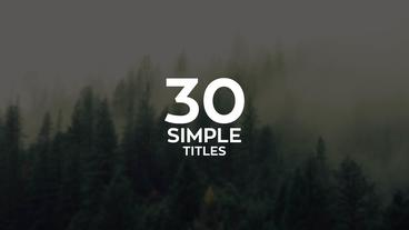 30 Simple Titles After Effectsテンプレート