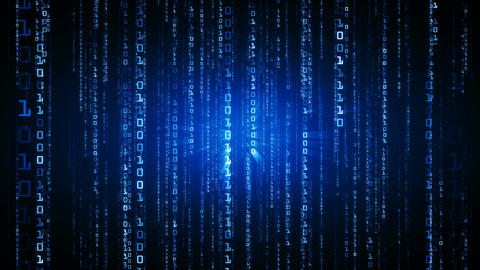 The Matrix style binary code. Falling numbers. Blue version. Seamless loop. 4K Animation