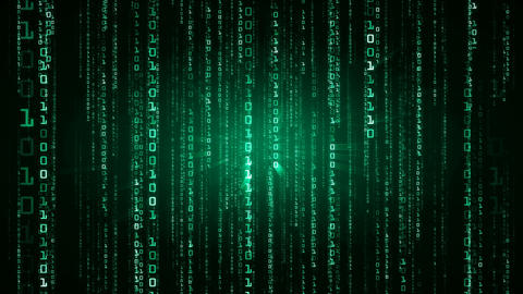 The Matrix style binary code. Falling numbers. Green version. Seamless loop. 4K CG動画素材