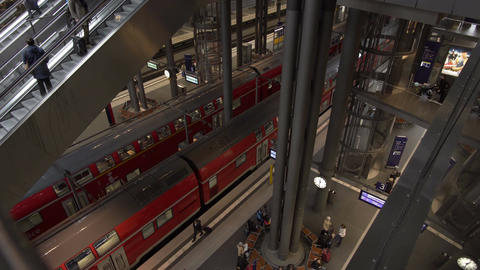 Berlin Main Train Station Interior High Angle Timelapse Footage