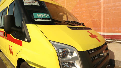 Camera Moves from Ambulance Bonnet to Pole with Lights Footage