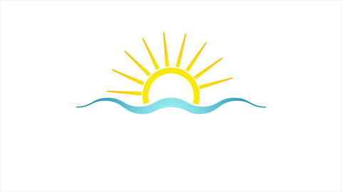 Abstract bright sun and sea icon video animation Animation