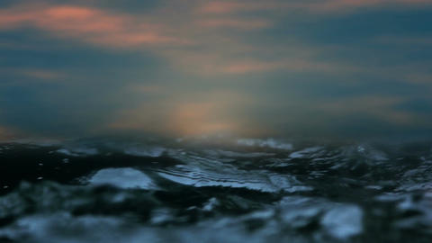 Animated beauty sunset over natural ocean waves Animation