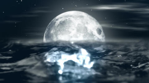 Animated night moon in the waves of the ocean Animation