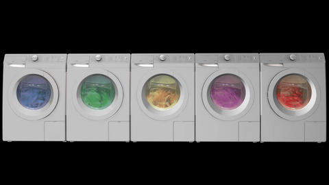 Washing machines with alpha channel Animation