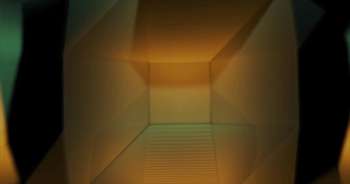 Orange Emerald Low Poly geometric waving background Animation