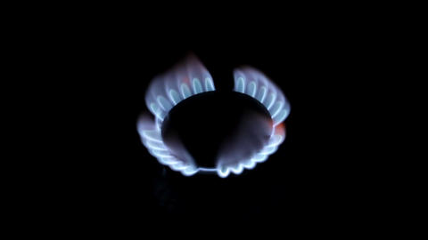 Flames of gas on a black background ビデオ
