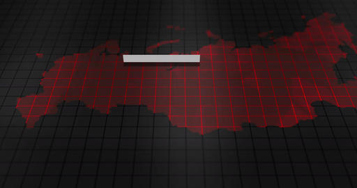 Futuristic Red digital ominous map of Russia, Stock Animation