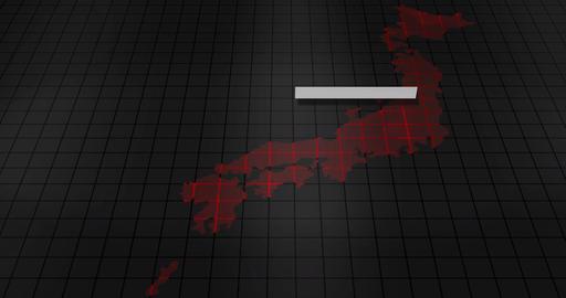 Futuristic digital ominous map of Japan Animation