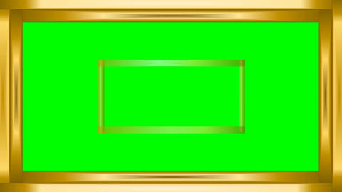Video frame golden metallic strips on green matte, gradually rendering parts of  Animation