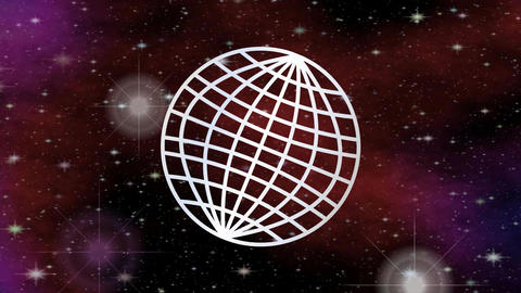 Video with line earth within space with flying stars and… Stock Video Footage