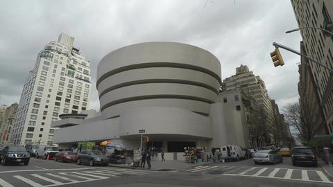 New York, USA The Solomon R. Guggenheim Museum of art facade Live Action