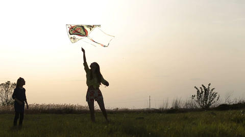 Happy mother and daughter on meadow with a kite Footage