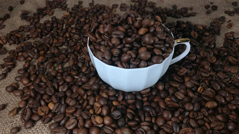 Roasted coffee beans poured into the coffee cup in slow motion Footage