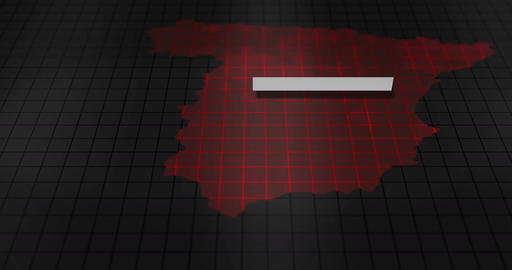 Futuristic Red digital ominous map of Spain Animation