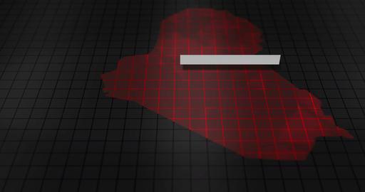 Futuristic Red digital ominous map of Iraq Animation
