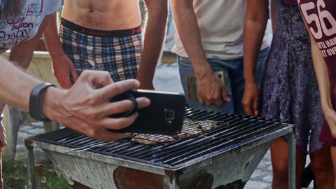 People Make Selfie against Barbeque Grill and Show Thumbs up Footage