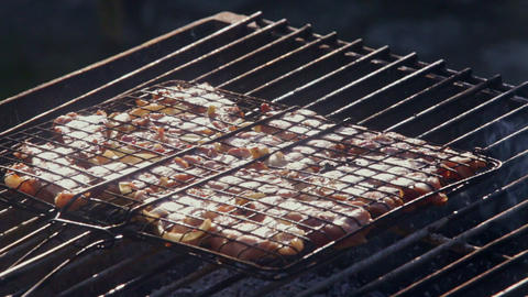 Closeup Delicious Barbecue Roasted on Open Flame Footage