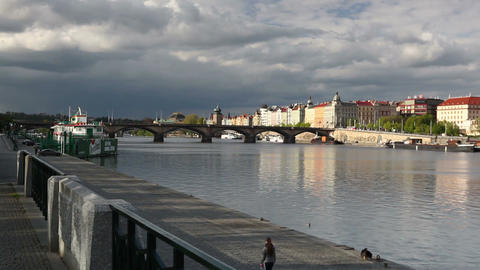Prague panorama with Palacky bridge