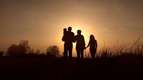 Silhouettes of grandparents with kids at sunset Footage