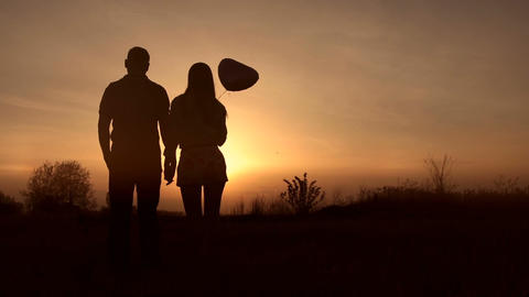 Romantic couple in love watching beautiful sunset Footage