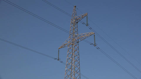 Top of electrical pylon with wires, 4K Footage