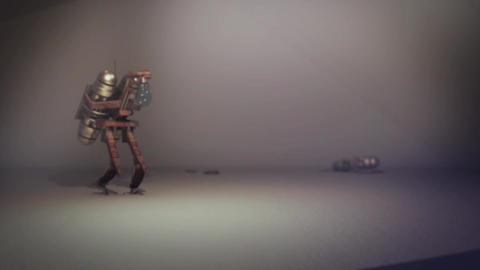 A smart rusty steampunk robot turning on lightbulb in... Stock Video Footage