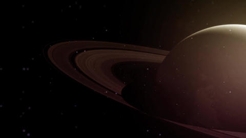 Slow dolly through space towards the atmosphere and rings of Saturn Animation