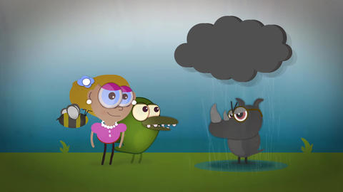 Funny children's cartoons gathering around a grumpy mean rhino in stormy thunder Animation