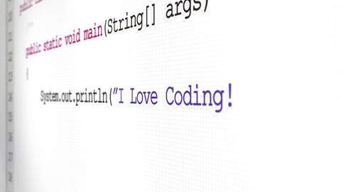 Software code revealing software terminology across a screen - I Love Coding Animation