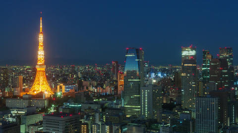 Tokyo, Japan - Transition from Night to Day in Time Lapse (4K) Footage