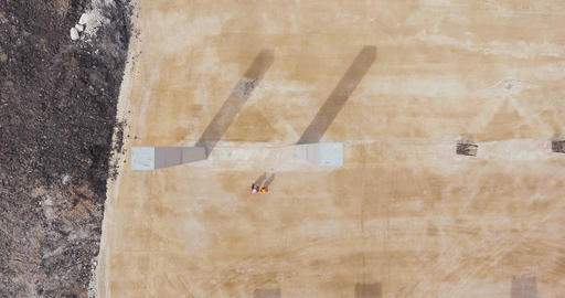 Aerial footage of a large scale highway construction project Footage