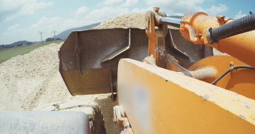 Point of view (POV) shot on a large loader working on a highway construction pro Live Action