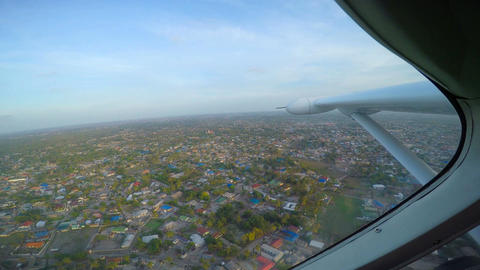 Flying single-engine aircraft over Tanzania. Africa Footage