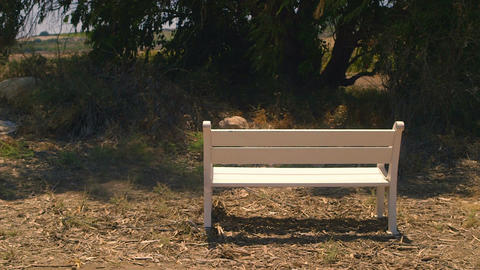 White bench placed in rural area Filmmaterial