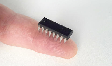 Close-up of the microcircuit on the finger. Zoom in