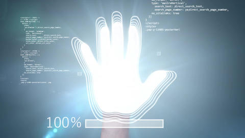 Fingerprint, Access Granted, 3d animation with a green... Stock Video Footage