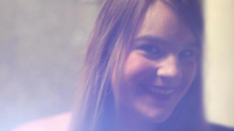Epic Cinematic shot of blonde brunette smiling at camera Live Action
