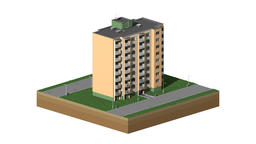 Isometric building in time lapse loop CG動画素材