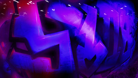 Graffiti of 4 letters Shine Magenta Footage